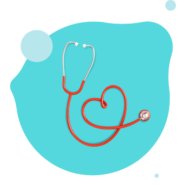 Red stethoscope with tubing formed into a heart shape