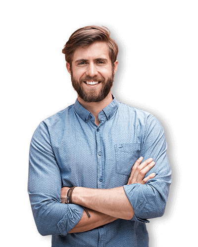 Bearded man smiling in blue button-down shirt